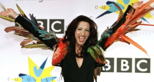 Israel's transsexual Dana International celebrates winning the Eurovision Song contest at the Nation..